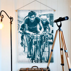 Cyclist Raphael Geminiani Linen Wall Hanging