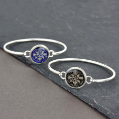 Sterling Silver Sixpence Enamel Coin Bracelet Bangle
