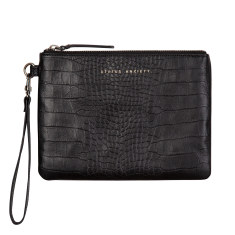 Fixation leather wallet in black croc