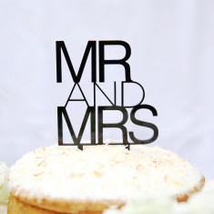 Mr and Mrs contemporary wedding cake topper