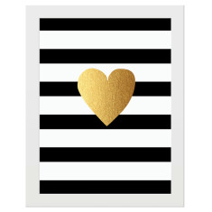 Gold heart, black & white stripe print