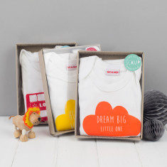 Dream big little one cloud onesie and bib boxed gift set