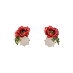 Red Flower and White Stone Earrings