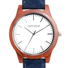 Hudson red sandalwood and blue suede watch
