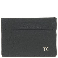 Monogrammed Saffiano Leather Credit Card Sleeve - Black w/ Gold Emboss