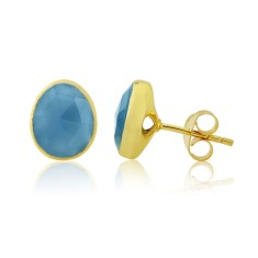 Blue Chalcedony Stud Earrings