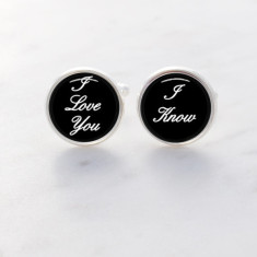 I love you I know silver cufflinks