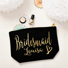 Black and Gold Bridesmaid Makeup Bag
