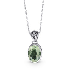 Oval Green Amethyst and Filigree Sterling Silver Pendant