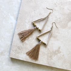 Tasseled Drop Earrings In Sand