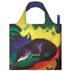 LOQI reusable bag in museum collection in blue fox