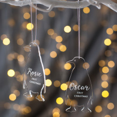 Personalised Clear Penguin Baby Decoration