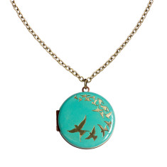 Find your wings and fly... Engraved Flock of Birds Vintage Locket