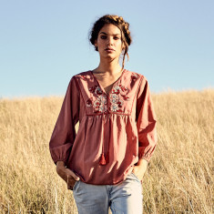 Tainted Love embroidered blouse in ochre