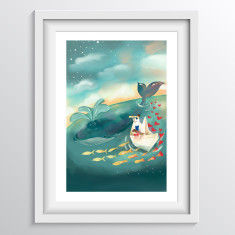 Whale Wall Art for children - 'Adventures at Sea'