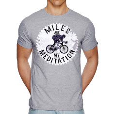 Miles are my meditation t-shirt in grey marle