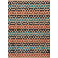 Blue & multi coloured handmade flat weave jute rug