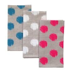 Ikat spot natural linen napkins (set of 4)