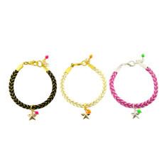 Golden woven bracelet in pink, white or black