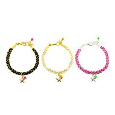 Golden woven bracelet in pink, white or black