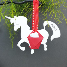 Personalised Christmas Unicorn Carrier Ornament