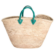 Large basket with green leather handles