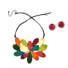 South Pacific hibiscus necklace & earring set