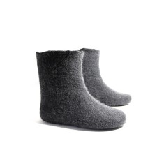Womens black wool slipper boots