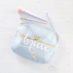 Bride makeup bag with hidden date inside