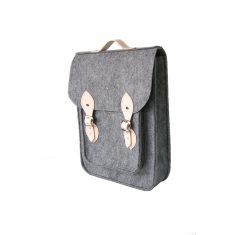 Felt backpack for your laptop with genuine leather