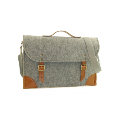 Grey felt laptop case with brown leather
