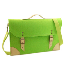 Green felt laptop case with beige leather