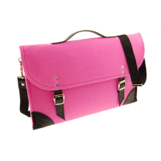 Pink felt laptop case with black leather