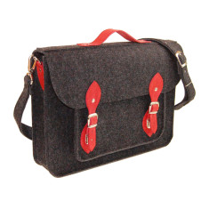Dark grey felt bag for your laptop with red leather