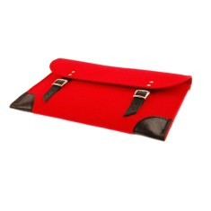 Red felt laptop case with black leather finishing
