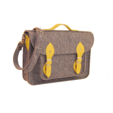 Felt bag for your laptop with yellow leather