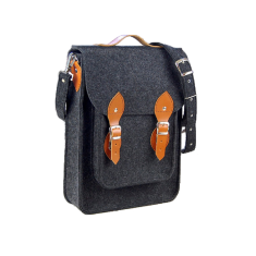 Vertical dark grey felt bag for your laptop with brown leather