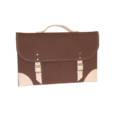 Brown felt laptop case with beige leather