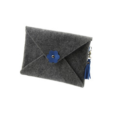 iPad mini iPad Air felt clutch purse with blue leather tassel