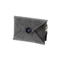 iPad mini iPad Air felt clutch purse with navy blue leather tassel