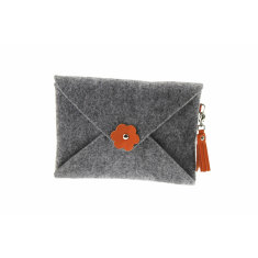 iPad mini iPad Air felt clutch purse with orange leather tassel