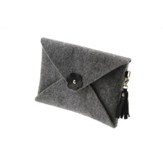 iPad mini iPad Air felt clutch purse with black leather tassel