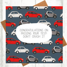 Don't crash it! driving test congratulations card