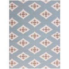Chevron Blue handmade flat weave rug