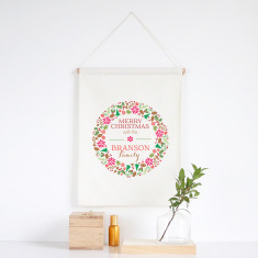 Colourful Wreath personalised wall banner