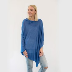 Bamboo poncho in ocean blue