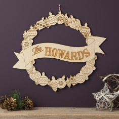 Personalised Wooden Christmas Wreath