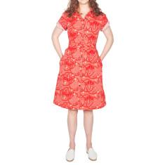 Red Cotton Shirt Dress