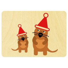 Christmas quokka's wooden card