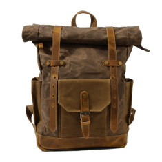 Brown Canvas Waterproof Backpack/Laptop Bag With Leather Pockets